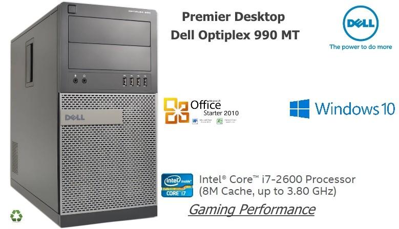 PC DELL Optiplex 990 MT Intel Core i7 2600 Quad-Core Windows 10