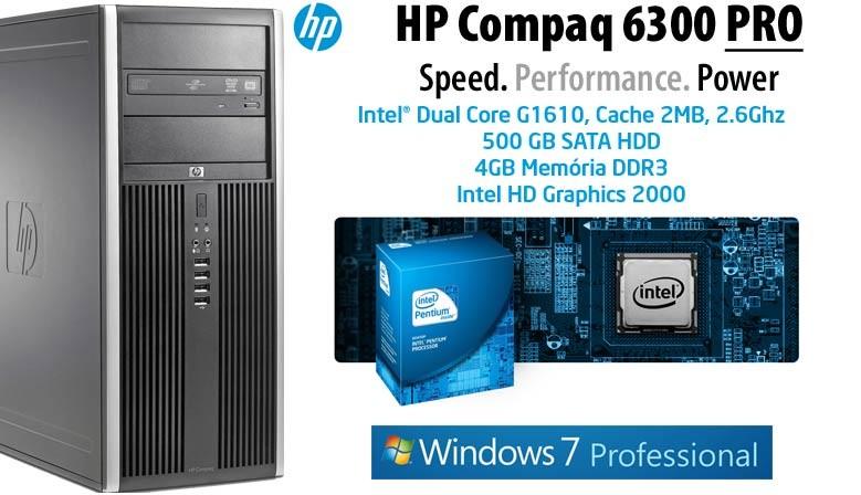PC Desktop HP 6300 PRO Business Intel G1610 Windows 7 professional