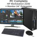 """PC Completo HP Workstation Z230 Intel Xeon + Monitor 24"""" Ecrã plano [Nvidia Quadro 600] Windows 10 Pro upgrade"""