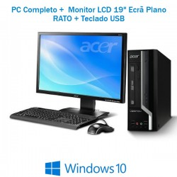 "PC Completo Acer VERITON SFF PC Intel G1820 + Monitor LCD 19"" ecrã plano Windows 10 Pro upgrade"