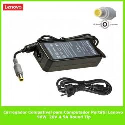 Carregador Compativel para Computador Portátil Lenovo 90W 20V 4.5A Round Tip