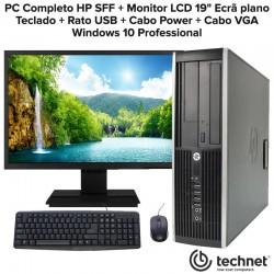 """PC Completo HP + Monitor LCD 19"""" Ecrã plano Windows 10 Professional"""