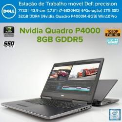 "Workstation Dell Precision 7720|43.9 cm (17.3"") i7-6820HQ[Skylake 6ªGeração]1TB SSD|32GB DDR4[Nvidia Quadro P4000M-8GB] Win10Pro"