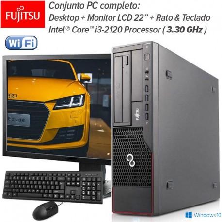 """PC Desktop Completo Fujitsu + Monitor LCD 22""""  Intel Core™ i3-2120 ( 3.30 GHz ) Windows 10 Pro upgrade"""