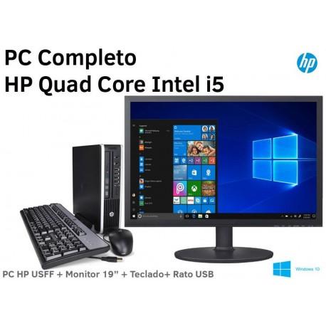 """PC Completo HP 6200 Pro + Monitor LCD 20"""" ecrã plano Windows 10 Pro Upgrade"""
