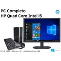 """PC Completo HP Quad Core Intel i5-2500S + Monitor LCD 19"""" ecrã plano Windows 10 Pro Upgrade"""