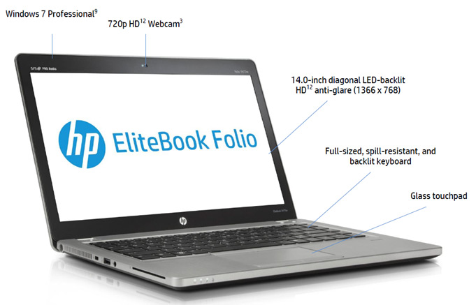 HP EliteBook Folio 9470m Notebook Front View