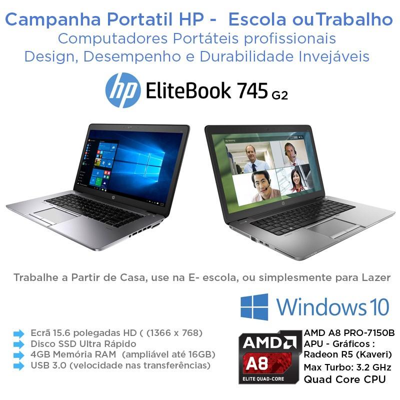 Portatil Empresarial 15.6 HP EliteBook 755 G2 Elite Quad-Core AMD A8 PRO-7150B APU |SSD|Windows 10 Pro Upgrade